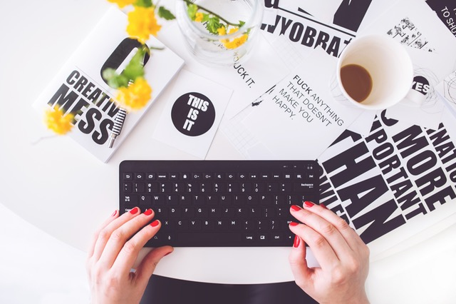 blogger working on keyboard