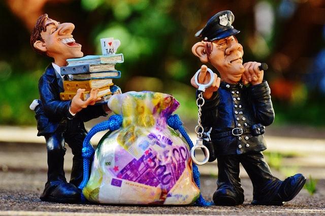 cop with a fraudster cartoons